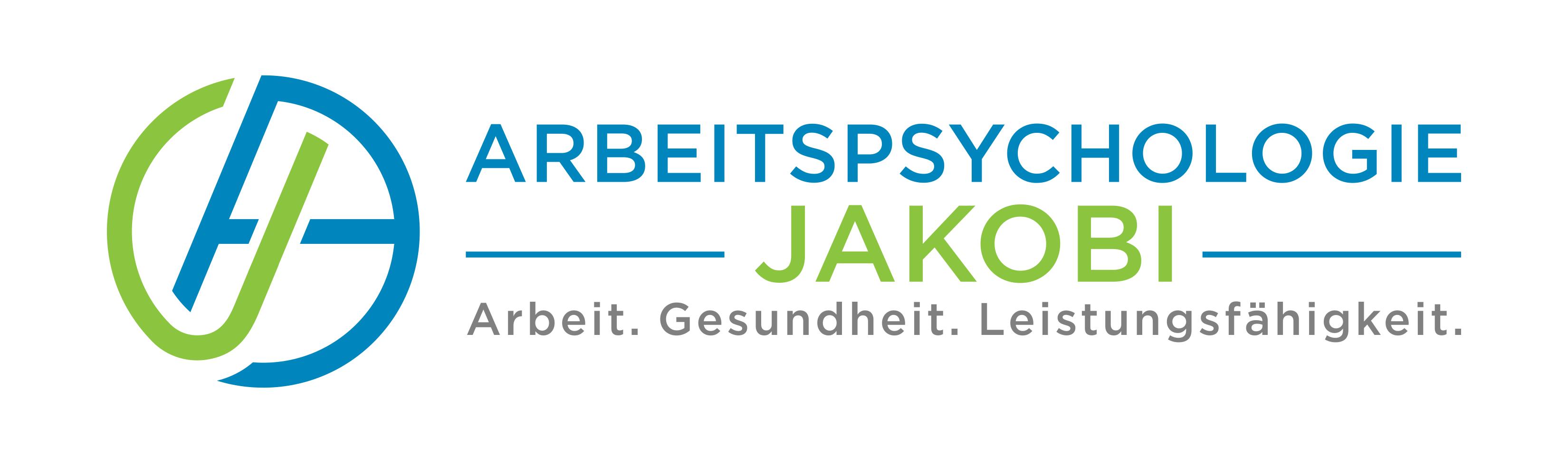 Arbeitspsychologie Jakobi - Logo - Claims: Arbeit. Gesundheit. Leistungsfähigkeit.